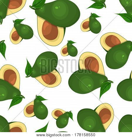 Avocado seamless pattern on white background eps 10