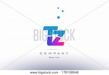 Tz T Z  Pink Blue White Modern Alphabet Letter Logo Icon Template