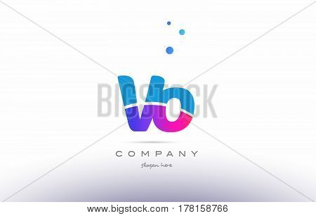 Vo V O  Pink Blue White Modern Alphabet Letter Logo Icon Template