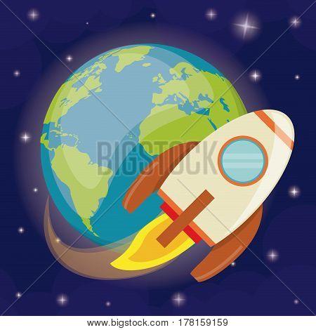 earth planet rocket orbit vector illustration eps 10