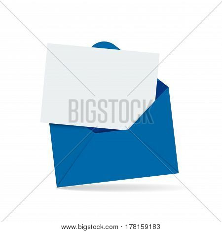 Open blue envelope with blank white letter. Template for invitation congratulation design. Isolated vector illustration
