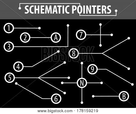 Schematic pointers. Extension lines to indicate the details of the drawings and diagrams. The elements of graphic design. Vector Image.
