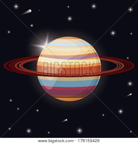 saturn planet solar system space vector illustration eps 10
