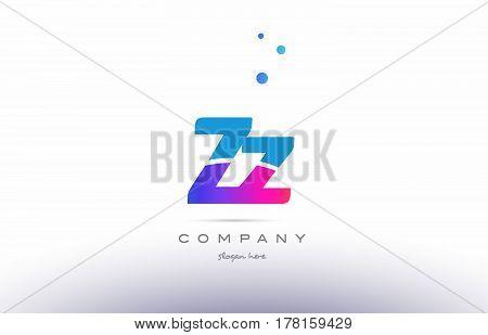 Zz Z  Pink Blue White Modern Alphabet Letter Logo Icon Template