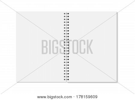 Vector realistic opened notebook. Vertical blank copybook with metallic silver spiral. Template (mock up) of organizer or diary isolated.