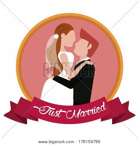 just married groom carrying bride label vector illustration eps 10