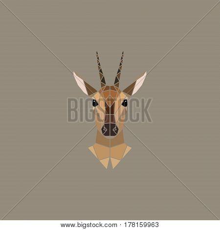Antelope female polygonal portrait. Abstract vector illustration.