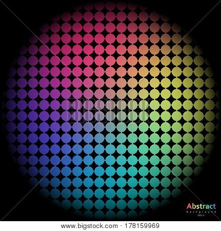 Rainbow background with spectrum cell. Vector illustration on black background.