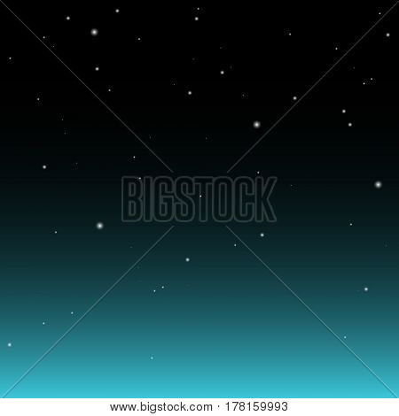Dark nights sky with stars and with turquoise glow. Abstract Background.