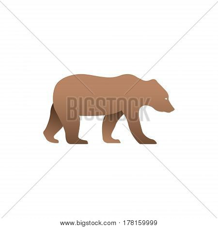 Vector illustration of brown bear. Isolated on white background. Icon logo panther side view profile.
