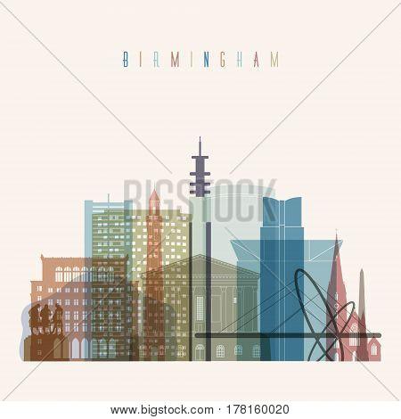 Transparent style Birmingham skyline detailed silhouette. Trendy vector illustration.