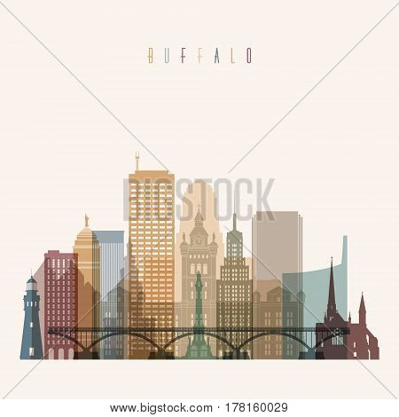 Transparent style Buffalo state New York skyline detailed silhouette. Trendy vector illustration.
