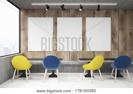 Cafe With Yellow And Blue Chairs