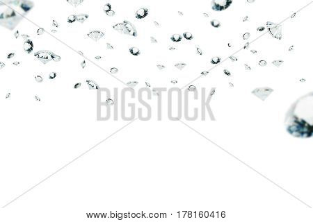 Picture of diamonds of different sizes floating in the air against a white background. Mock up