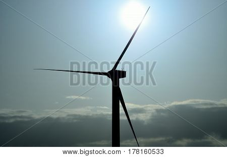 Wind turbine backlit with radiant morning sun