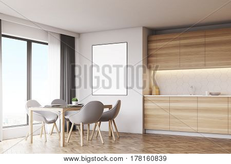 Corner of a kitchen interior with a vertical poster light wooden furniture and gray chairs. 3d rendering mock up