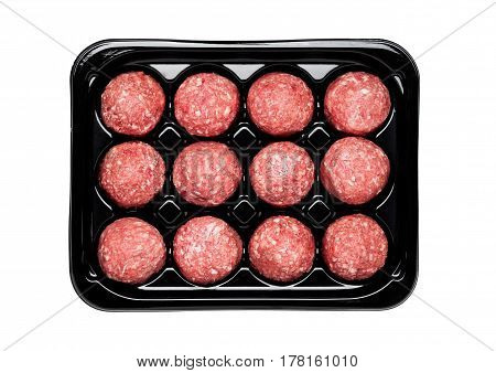Raw Beef Meatballs In Black Plastick Tray