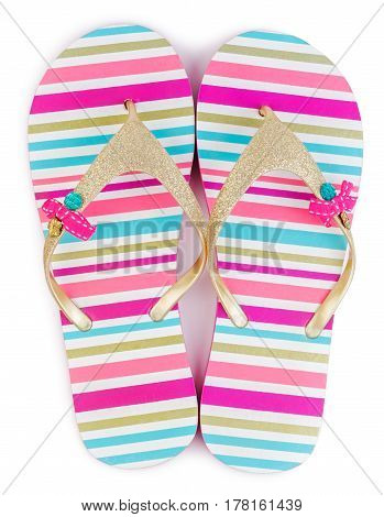 Summer fashion striped flip flops or slippers isolated on white background.
