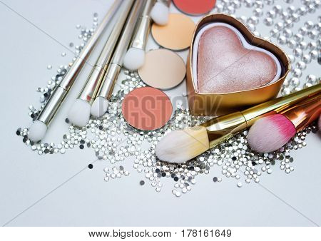 Brushes For Make-up And Precious Stones.