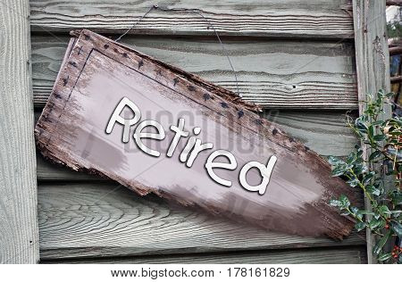 Retired hanging sign on this old house.