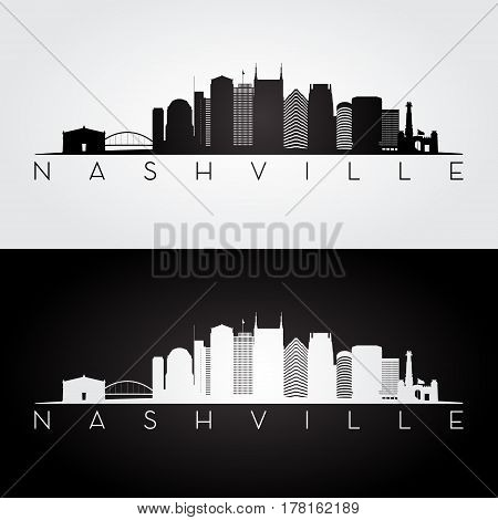 Nashville USA skyline and landmarks silhouette black and white design vector illustration.