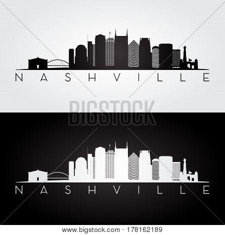 Nashville USA skyline and landmarks silhouette black and white design vector illustration.