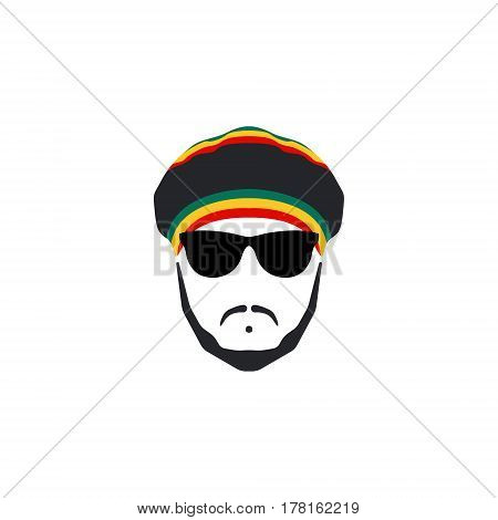 Rasta Cap with moustache and beard on white background. Jamaican Hat.