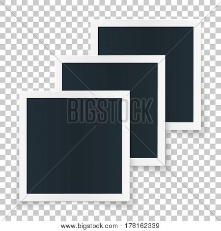 Square image frame set concept, 3 single isolated object in row with shadows on transparent background. Vector detailed illustration edge for imagess and pictures.
