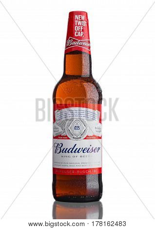 London,uk - March 21, 2017 : Bottle Of Budweiser Beer With New Twist Off Cap On White. An American L