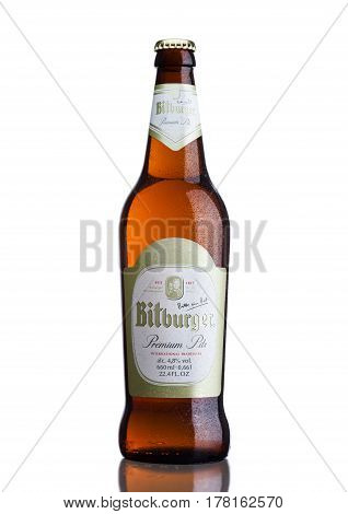 London, United Kingdom - March 23, 2017: Bottle Of Bitburger Beer On White.bitburger Brewery Is A La