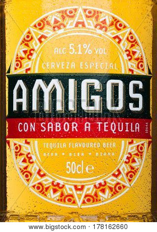 London, United Kingdom - March 23, 2017: Bottle Label Of Amigos Tequila Beeron White. A Beer Brewed
