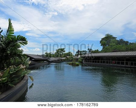 SINGAPORE ASIA - NOVEMBER 14: Wild Amazonian Calming Lake Scene at The RIVER SAFARI; a river-themed zoo and aquarium November 14, 2014 in Singapore, Asia