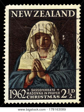 New Zealand - CIRCA 1962: A stamp printed in New Zealand shows praying madonna, series Christmas, circa 1962