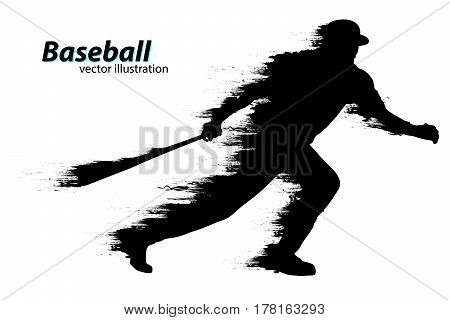 silhouette of a baseball player. Text on a separate layer, color can be changed in one click. Vector illustration