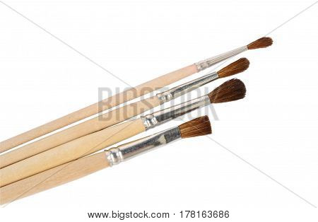 The paintbrushes isolated on a white background