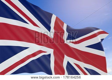 3D Rendering Of United Kingdom Flag Waving On Blue Sky Background