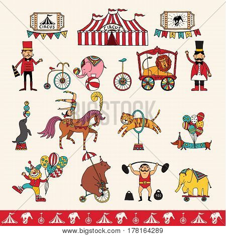 set with hand drawn isolated doodles on the theme of performance. illustrations of circus symbols.