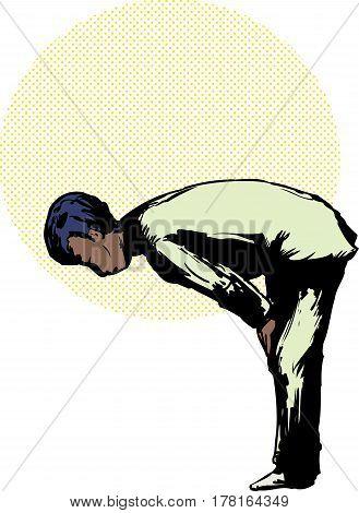 Muslim Man In Ruku Prayer Position