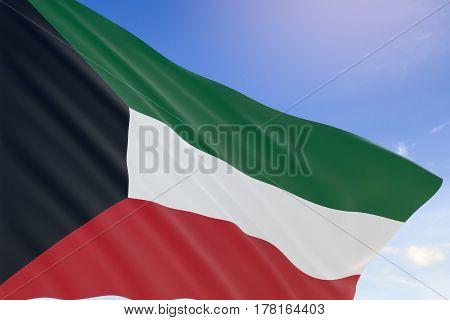 3D Rendering Of Kuwait Flag Waving On Blue Sky Background