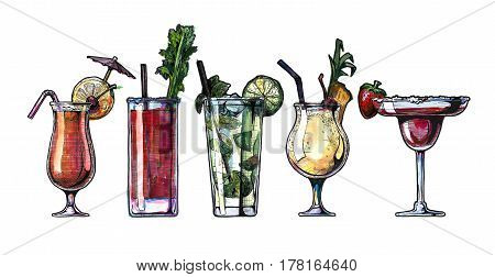 ink drawing and watercolor illustration set of alcohol cocktails. Sex on the beach bloody mary mojito pina colada and strawberry margarita.