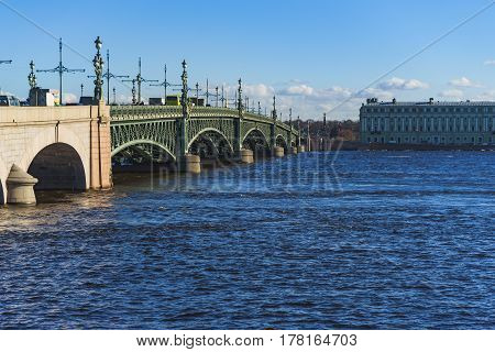 the Troitsky bridge in Saint-Petersburg, Russia, spring