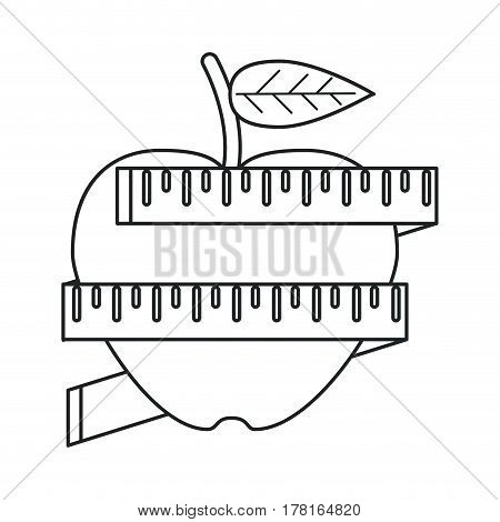 apple measuring tape lose weight outline vector illustration eps 10