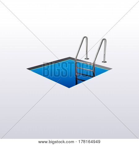 Ladder down the square hole hatch isolated on white background. Vector illustration