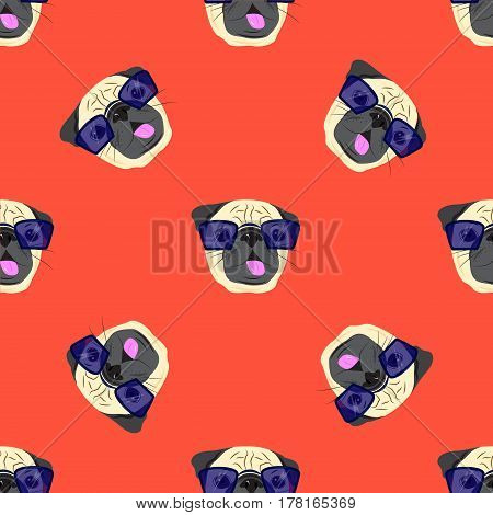 Seamless pattern with pug-dog in glasses on red background. Pug Dog