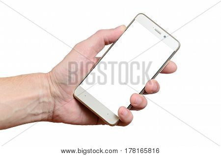 hand holding a phone isolated on a white background located on the left