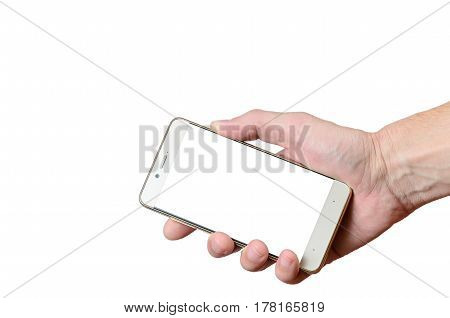 hand holding a phone isolated on a white background located on the right down