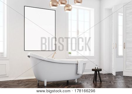 Gray Bathroom Interior With Poster, Side
