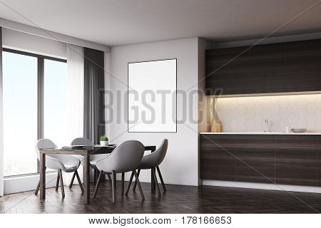 Dark Wood Kitchen With Table And Poster, Side