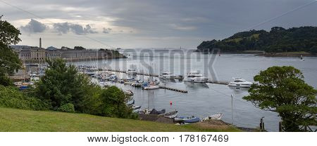 The harbor in Plymouth. County Devon. In the background is seen Royal William Yard Harbor. It's a nasty day. England