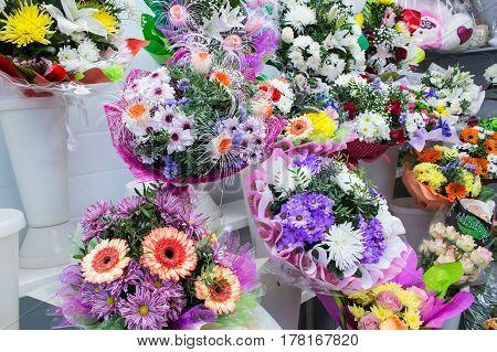 Bunches Of Big Fresh Orange Pink Red Gerbera Chamomile And Big White Yellow Blue Chrysanthemum Flowe